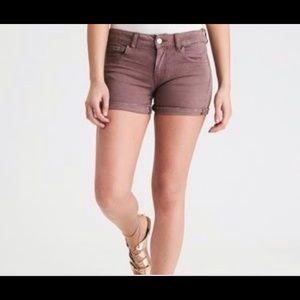 AE twill brown midi shorts